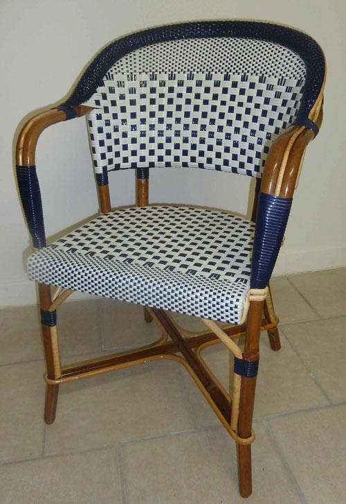 chaise bistrot en rilsan et rotin