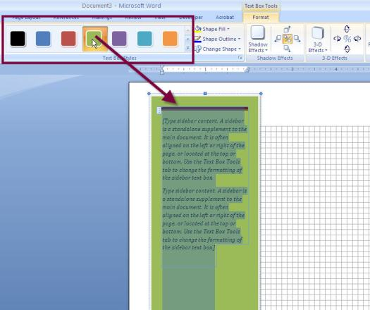 Ms Word 2010 Text Box Background Color
