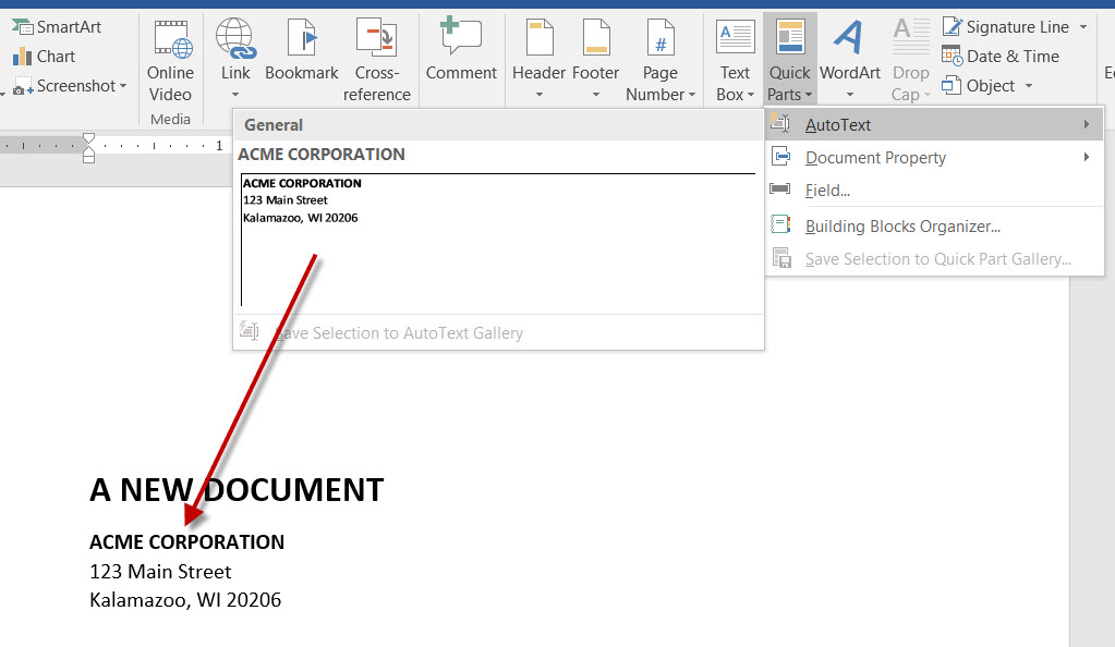 How to Create and Insert Boilerplate Autotext to MS Word