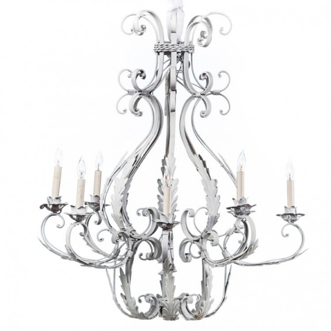 Rustic Iron Chandelier White