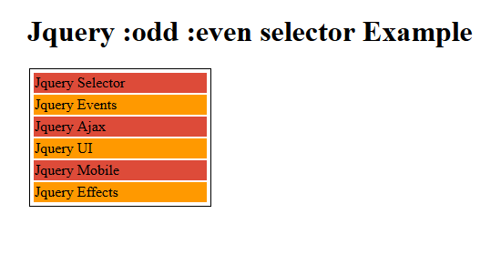 Jquery odd even Selector Example