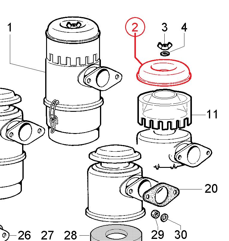 Couvercle prefiltre air lombardini 3ld510 4ld640 4ld705