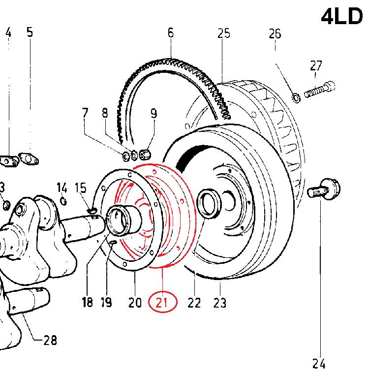 Support côté volant moteur lombardini 4ld640 (lda96