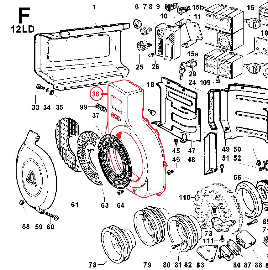 Coiffe ventilateur 12ld435-2 12ld475-2 lombardini