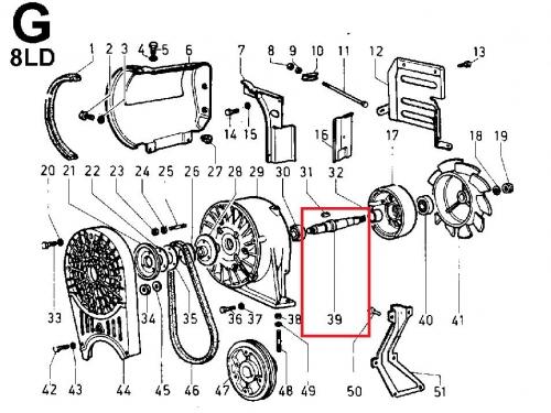 Arbre ventilateur 8ld600-2 8ld665-2 8ld740-2 lombardini