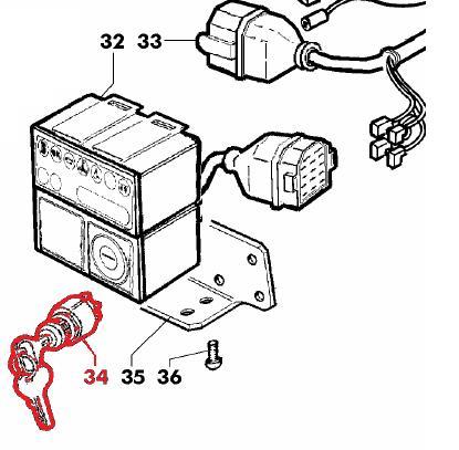 Contacteur à clé démarrage moteur 3 positions (lombardini