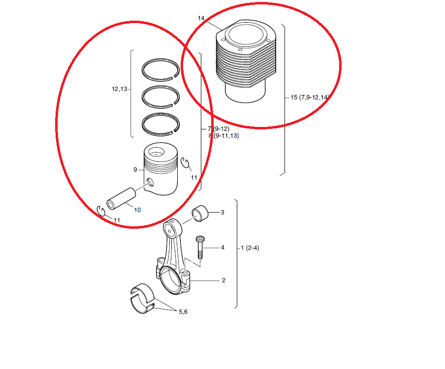 Kit cylindre + piston hatz 2l41c 3l41c 4l41c 2m41 3m41