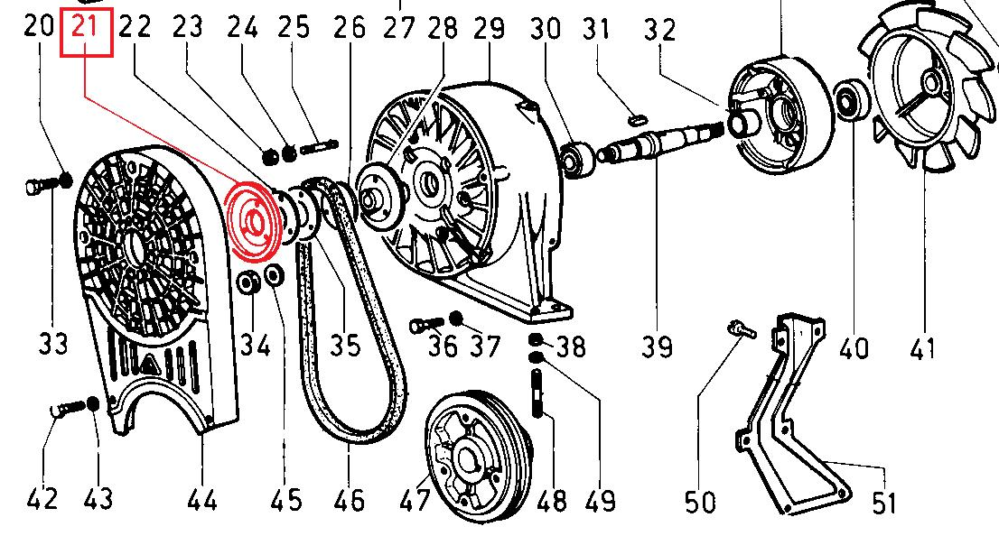 Demi-poulie 8ld600-2 8ld665-2 8ld740-2 lombardini (montage