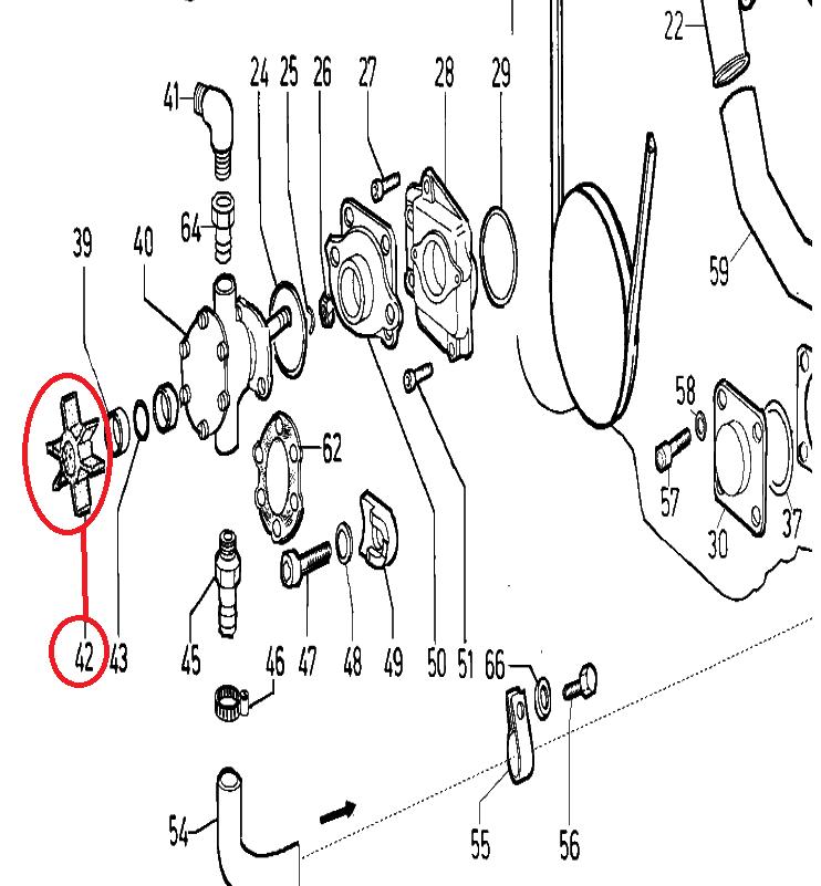 Impeller / turbine 6 pales pour pompe eau mer johnson chd