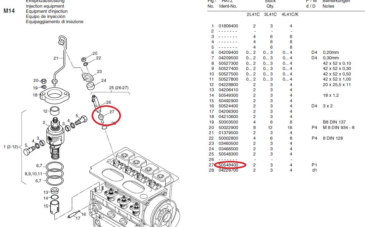 Nez injecteur 2l41c 3l41c 4l41c hatz ( hatz 50548400 )