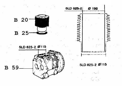 Kit cylindre + piston 5ld825-2 5ld825-3 5ld825-4
