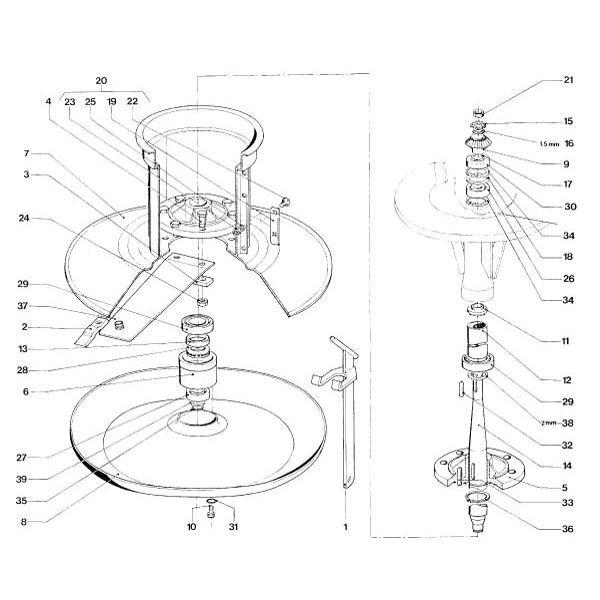 Trommel en maaischotel passend voor PZ CM 165 / 166 in