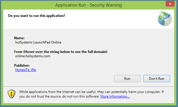 Application Run - Security Warning