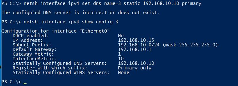 Set DNS Server address - Pv4 Networking with Netsh