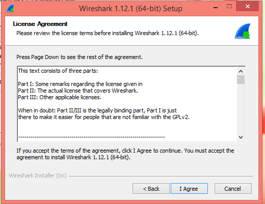 Wireshark License agreement