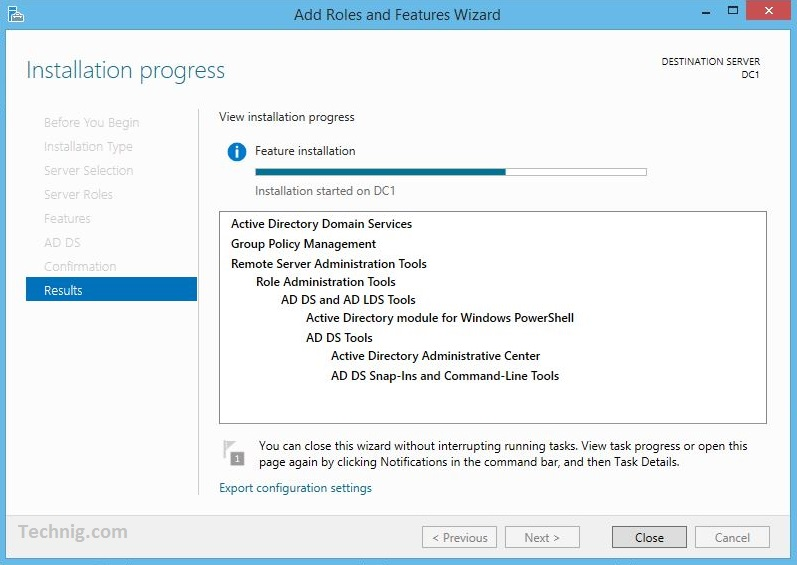 Active Directory Installation Progress