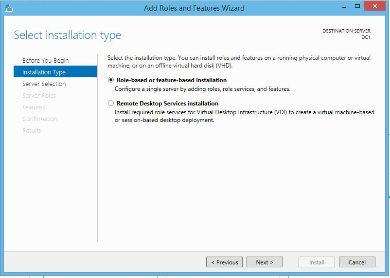 Active Directory Installation Type