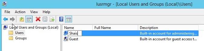 Change default user name
