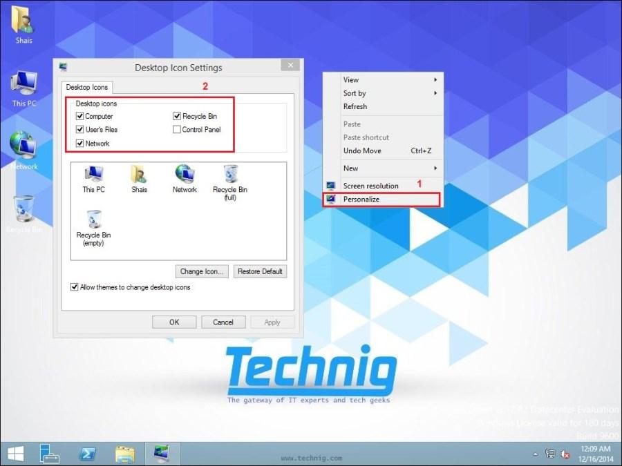 Desktop Icons in Windows Server 2012 R2