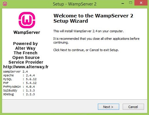 Welcome to the WampServer 2 Setup Wizard