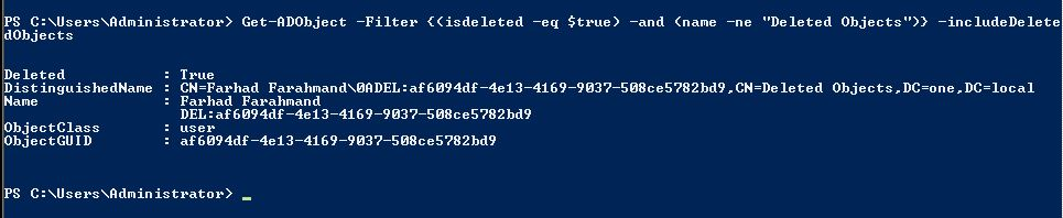 Display Deleted Active Directory Objects