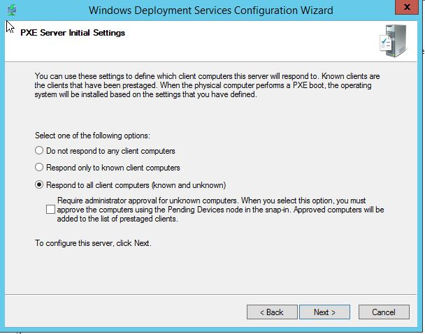 WDS PXE Server Initial Settings