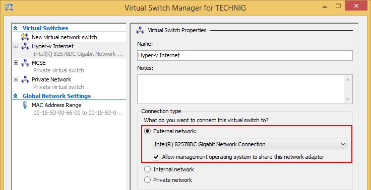 How to Connect Hyper-v Machines to Internet in Windows 10  - External NIC