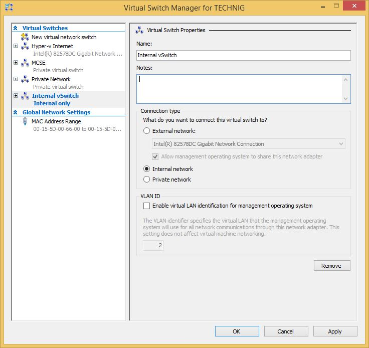 Configure Hyper-v Internal Virtual Switch in Windows 10 - Technig