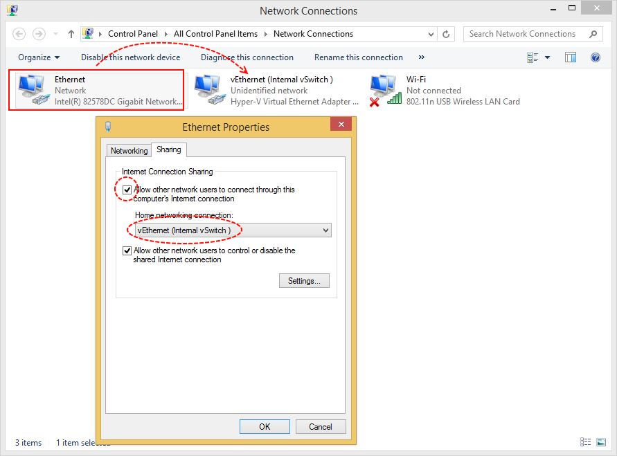 Configure Hyper-v Internet Connection Sharing - Technig