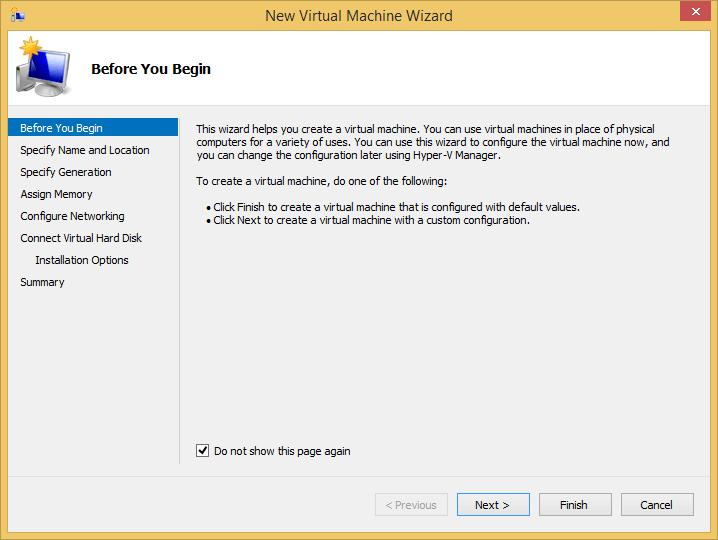 Hyper-v New Virtual Machine