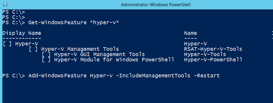 Install Hyper-v with PowerShell
