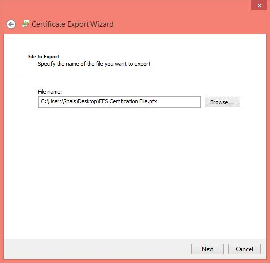 Data backup of EFS Certification Key in Windows 10