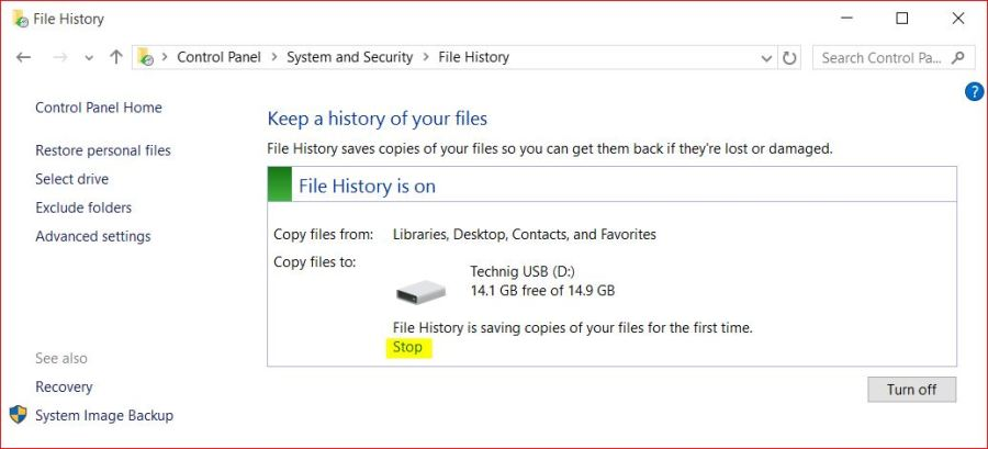 System and Security - File History