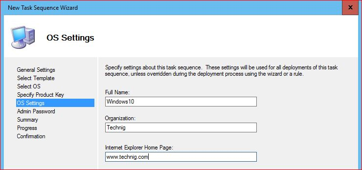 MDT OS Settings for Upgrading to Windows 10