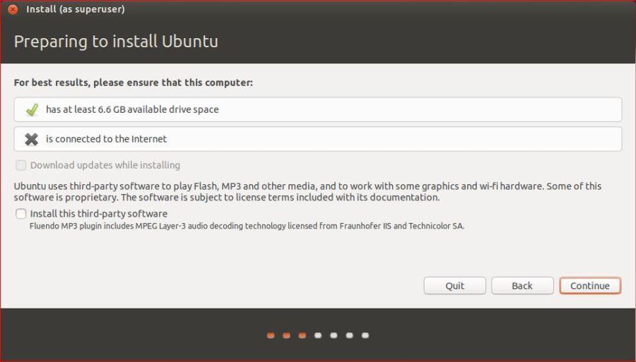 Preparing to install Ubuntu Desktop