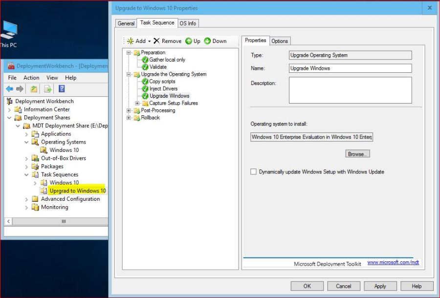 Upgrade to Windows 10 Using MDT Task Sequence Settings