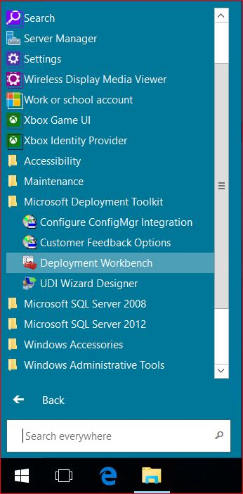 Windows Server 2016 Start Menu