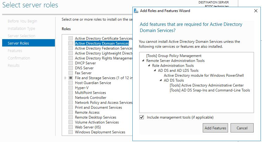 Add features that are required for active directory domain services