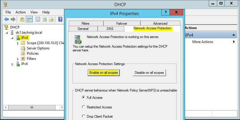 Enable and Configure Network Access Protection on DHCP