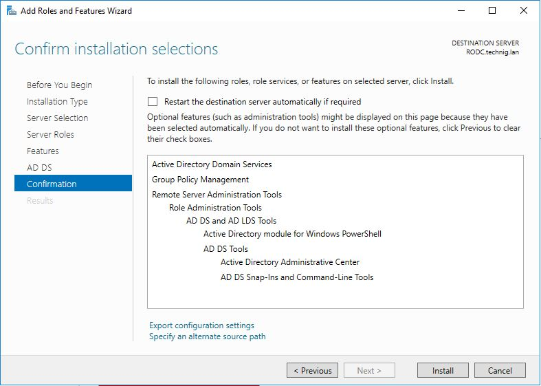 Install Read Only Domain Controller on Windows Server 2016