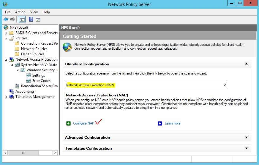 Configure Network Access Protection in Windows Server 2012 R2