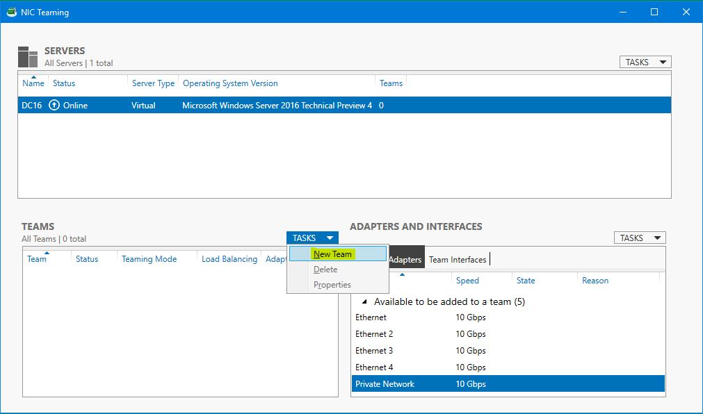 Configure NIC Teaming in Windows Server 2016