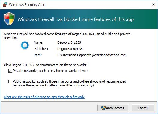 Degoo Firewall Extension