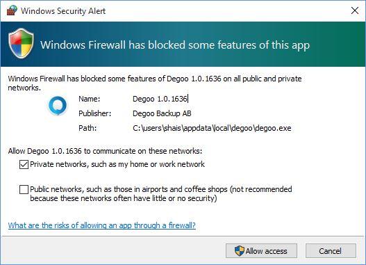 Degoo Firewall Extension