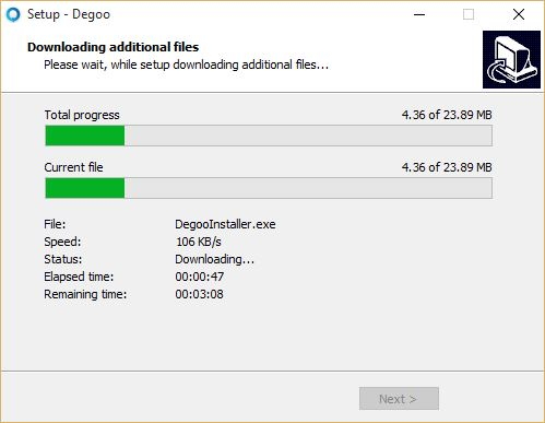 Installing Degoo on Windows 10