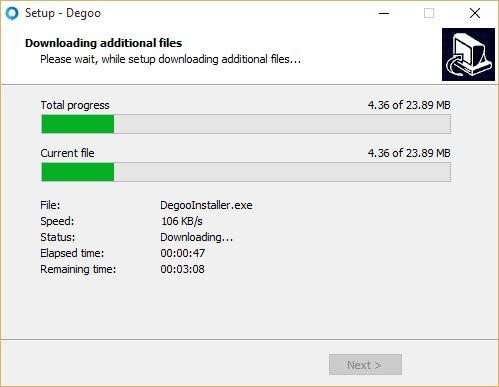 Installing Degoo on Windows 10