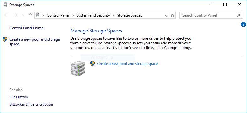 Setup Windows 10 Storage Spaces