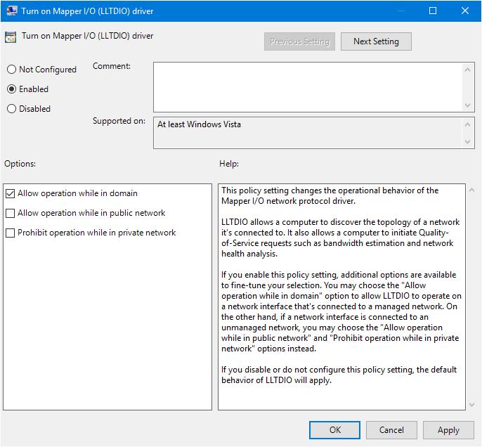 Enable Turn on Mapper I/O (LLTDIO) driver