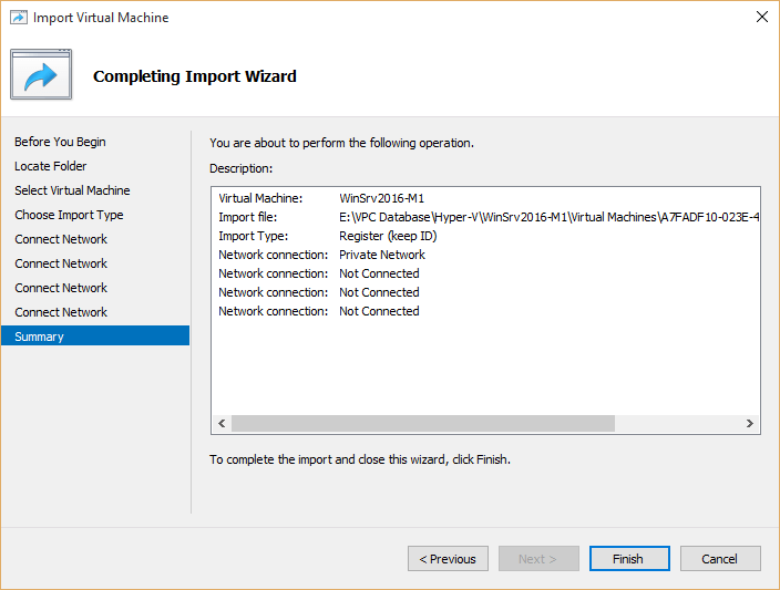 Hyper-v virtual machine imported successfully