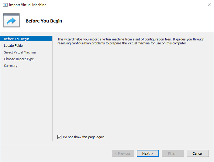 Import Hyper-v virtual Machines Wizard